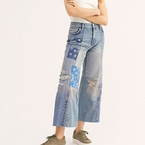 NWOT Free people Heart of gold patch work jeans